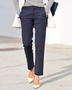 Navy pinstripe trousers for women!