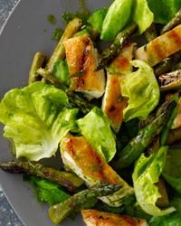 How To Make Grilled-Chicken-and-Asparagus Salad with Parsley Pesto Recipe