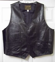 Mens Leather Vest - Classic 4 Snap Front - BLACK - 2 XL #MarylandLeather #MotorcycleVest