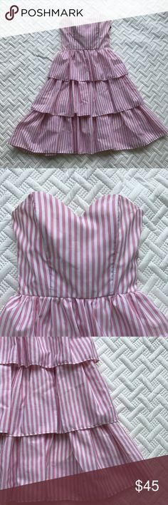 """Vintage 80s Prom Dress Pink & White Striped 9/10 Amazing vintage 80s prom dress  Tiered - could wear petticoat to make a fuller dress   Pink and white vertical stripes   TD4 by Eletra  Size: 9 / 10 (appears smaller by current size standards. Please check measurements. No returns on this item)   Bust - taken flat - 15""""  Waist - taken flat - 12"""" Vintage Dresses Strapless"""