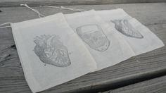 Set of 10 Anatomical Heart And Skull  Muslin Gift by CrimsonHollow, $12.00