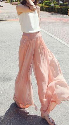 Chiffon Wide Leg Pants $29 (Inspiration for when I made wide leg pants because these look awesome!)