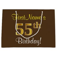 Elegant Brown Faux Gold 55th Birthday  Name Large Gift Bag - script gifts template templates diy customize personalize special