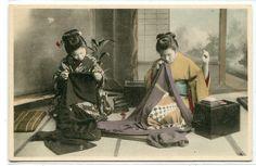 Japanese Women Sewing Kimonos Japan 1910c postcard
