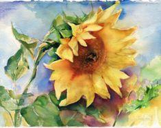Sonnenblumen Gemälde - original Aquarell Sonnenblume mit einer Hummel auf dem Papier drucken verfügbar