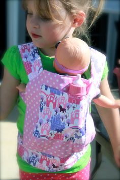Just Like Mommy Baby Doll Carrier for Kids in Pink & Purple Princess Castles. $28.00, via Etsy.