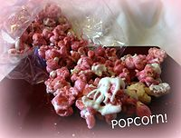 "Raspberry ""caramel"" corn! A delicious crispy coating of raspberry candy corn as shown with cashews, white chocolate and homemade shortbread! LOTS of flavors and choices for add ins!"