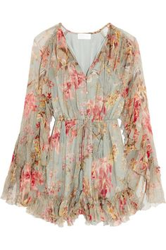Zimmermann - Mercer Floating Ruffled Floral-print Silk-chiffon Playsuit - Light denim - 3