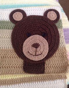 Crochet bear appliqué