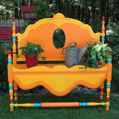 garden bench from old bed