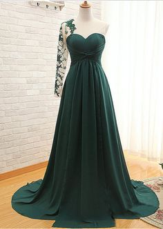 Asymmetric One Sleeves Floor Length Pleated Prom Dress Evening Dress with Beadings