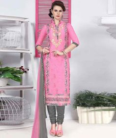Buy Pink Cotton Churidar Suit 77831 online at lowest price from huge collection of salwar kameez at Indianclothstore.com.