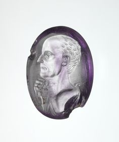 Amethyst intaglio portrait of a man c. 50-40 BC. Late Republican Roman.