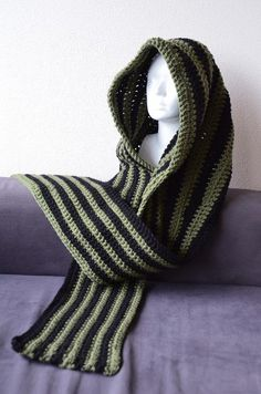 Convertible Hooded Scarf Cowl - Striped Version CROCHET PATTERN No.11. $3.99, via Etsy.