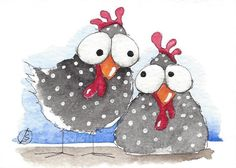 ACEO Original watercolor painting whimsical bird chickens sisters #IllustrationArt