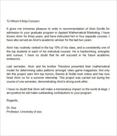 Need A Sample Letter Of Recommendation For Graduate School