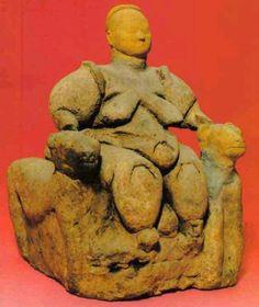 Mother Goddess-Ana Tanrıça-BC approximately 6500- (Found in Çatalhöyük ancient city-Çumra-Konya) Anatolian civilizations are on display at the museum-Ankara