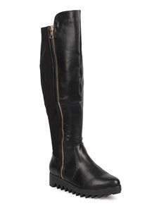 DbDk DA94 Women Leatherette Over The Knee Lug Sole Zip Wedge Boot - Black >>> Special boots just for you. See it now! : Over the knee boots