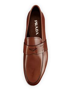 N2W5Z Prada Smooth-Leather Penny Loafer, Light Brown