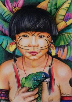 Índio Pintura com lápis de cor  By Ana Paula Campos Teixeira