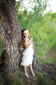 Flower Girl Dress  Baptism Dress-Ivory Lace by LillyBowPeep $27