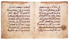 Double parchment leaf from a Koran written in Maghribi North Africa or Spain; 13th century Each leaf: 18 × 16.3 cm