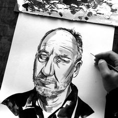Here's Joe Swec painting my illustration of Pete Townshend.