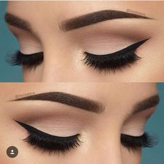 neutral matte shadows with bold eyeliner ... love that!