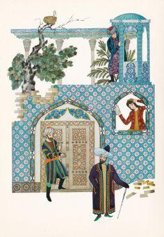 Adventures of Nasreddin, set of big size illustrated postcards. Melikhov, published in 1976 (buy on etsy) Islamic Paintings, Buch Design, Islamic Wall Art, Iranian Art, Turkish Art, Yellow Art, Medieval Art, Granada, Game Art