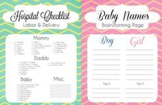 15 Things To Do Before Your Baby Arrives + Printable Checklists #HospitalBagChecklist #BabyNameBrainstorming