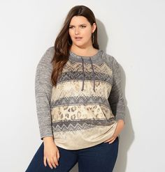 Add casual cool athleisure style to your wardrobe with the plus size Geo Knit to…