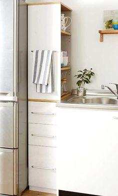 идеи хранения для маленькой кухни как использовать место у холодильника