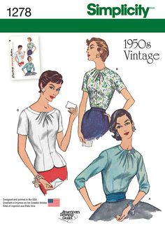 "Simplicity 1278, vintage blouses. Make in a nice flowy lightweight fabric and wear tucked-in with a knee length black skirt. Everything's about 1 5/8 yd (45), 1 1/8 yd (60""). Closure in back."