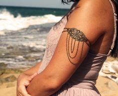 Armlet Slave Bracelet Arm Bracelet Hipster Bronze Chain Bohemian Drape Jewelry Piece Body Jewelry. $15.00, via Etsy.