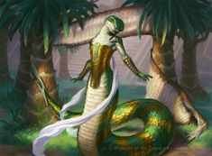 MtG Art: Naga Vitalist from Amonkhet Set by James Ryman - Art of Magic: the Gathering Fantasy Races, Fantasy Rpg, Dark Fantasy, Magic The Gathering, Fantasy Inspiration, Character Inspiration, Dark Souls, Reptiles, Snake Art