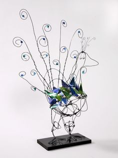 peacock wire sculpture