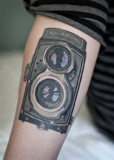 Old  Film Camera Tattoo DEsign For Lower Sleeve 13