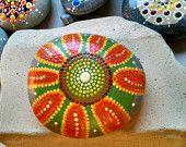 Sunflower~beach stone~pebble~ dot art~ Pointillism~ Dotillism ~ Hand Painted Rock by Miranda Pitrone