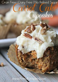 Paleo Carrot Cake Cupcakes using Coconut flour from Primally Inspired (Grain Free, Dairy Free, Nut Free, Refined Sugar Free) use honey instead of maple syrup Patisserie Sans Gluten, Dessert Sans Gluten, Paleo Dessert, Gluten Free Desserts, Dairy Free Recipes, Paleo Recipes, Real Food Recipes, Dessert Recipes, Appetizer Dessert