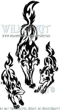 Tribal+Wolf+Mother+And+Pups+by+WildSpiritWolf.deviantart.com