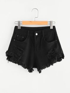 Ripped Raw Hem - Jeans-Shorts mit Knopfleiste - Jeansshorts - Ideas of Jeansshorts . Shorts Jeans Preto, Ripped Shorts, Long Shorts, Women's Shorts, Harem Shorts, Shorts Sale, Short Outfits, Short Dresses, Cute Outfits