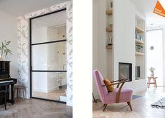 Nieuwbouw Kerckebosch, Zeist-Kraal architecten 11 & 12 Crittall, Sliding Doors, Living Area, Oversized Mirror, Industrial, Modern, Room, House, Furniture