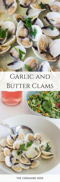 These garlic and butter clams are a great starter for a fine dinner without leaving the house. Freshness and delicate flavors in one dish! | The Cookware Geek
