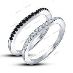 New Design Round Black & White Diamond Wedding & Anniversary Band Set Pair #giftjewelry22 #BandRing