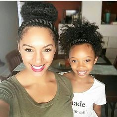 What a great way to bond…mommy-daughter moments. - What a great way to bond…mommy-daughter moments. Long Natural Hair, Pelo Natural, Little Girl Hairstyles, Pretty Hairstyles, Black Hairstyles, Hairstyle Ideas, Latest Hairstyles, Afro Hairstyles, Curly Hair Styles