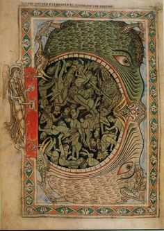 The entrance to hell being locked by an A archangel. From the twelfth-century Winchester Psalter, England.