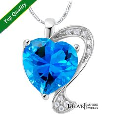 Romantic Women's Day Gift Ocean Blue Love Heart Zirconia Austrain Crystal 925 Sterling Silver Necklace Wholesale Cheap $8.76