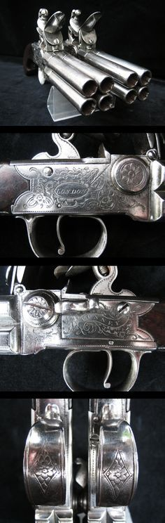 """Exceptionally Rare Pair of 4 Barrelled Flintlock Pistols In Fine Condition By """"Bunney of London"""", Circa 1780."""