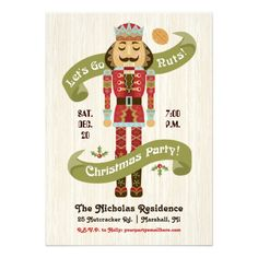 """Nutcracker Christmas Party Invitation — Your guest will """"Go Nuts"""" with this retro cute Nutcracker Christmas Party Invitation. Original Illustration by pj_design."""