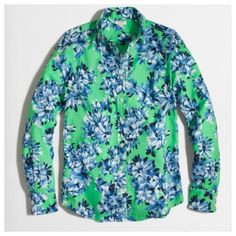 J. Crew Roz floral button up shirt Gorgeous print for spring and summer. Cotton. Long sleeves. Machine wash.  From Factory J. Crew Tops